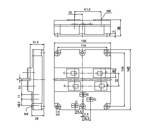 FZ1600R12KF4作为英飞凌新一代大功率半导体器件,它具有驱动容易、控制简单、开关频率高、导通电压低、通态电流大、损耗小等优势特点,是自动控制和功率变换的核心部件。如动车组牵引传动系统的核心部件,随着应用领域的不断拓展 FZ1600R12KF4的应用范围绝不仅限于动车组、机车等轨道交通装备行业,在电力系统、工业变频、风电、光伏变流、太阳能、电动汽车和家电产业中也有广泛应用 FZ1600R12KF4封装尺寸图  其它IGBT模块现货型号: