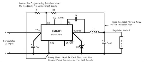 这是功率MOSFET开关的输出直接连接到输入电压。开关提供能量一个电感器,输出电容和负载电路的控制下内部pulse-width-modulator(PWM)。PWM控制器由一个固定的260 khz振荡器内部时钟。在标准的降压应用程序的责任周期(时间/时间)的电源开关功率的比值成正比输出电压与输入电压供应。甚短波销上的电压周期之间的Vin(开关)及以下通过外部的电压降肖特基二极管(关掉)。