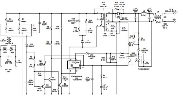 总输出过电压和电源保护通过自锁电路提供了关闭的特点TOPSwitch-HX和R20、C9、R22和VR5。应该偏差绕组输出电压C13上升由于输出过载或者一个开环的错(光电耦合器的失败),然后VR5进行引发了自锁关闭。防止假触发由于短时间过载,延迟是由R20、R22和制备过程。