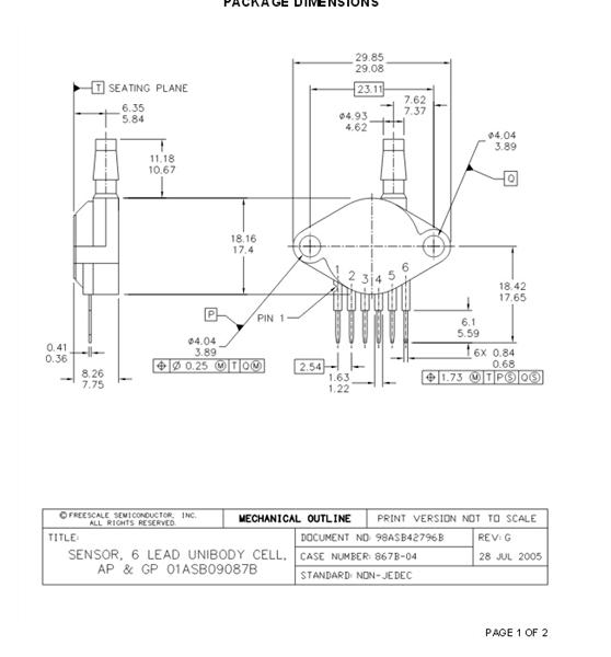 MPxx5050 系列(MP3V5050、MPXV5050VC6T1、MP3V5050、MPX5050/MPXV5050G和MPVZ5050G系列)传感器集成了片 上技术、双极运算放大器电路和薄膜电阻器网络,可提供高输出信号和温度补偿功能。凭借体积小巧的优点,以及片上集成的高可靠性,恩智浦压力传感器成为系统 设计人员顺理成章又经济高效的选择。 MPxx050系列传感器是最新型的单片式带信号调节的硅压力传感器。该传感器集先进的微机械技术、薄膜金属化和双极半导体工艺于一身,可提供与所施压力成正比、精确的高电