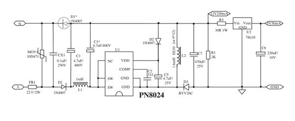 pn8024(压力锅,电饭煲)非隔离方案 chipown芯朋微一级代理
