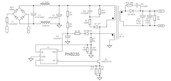 pn8235 sot23-5 5w充电器应用方案 chipowm芯朋微 代理