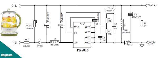 pn8016 高性能1.5w buck-boost非隔离方案 芯朋微代理