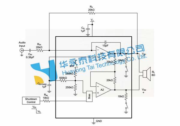 采用tdfn-2×2-8l封装 sgm4891产品典型电路应用示意图 sgm4891产品